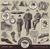 vector set: Gentlemen's fashion and accessories of the 20s