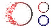 Rosette Circular Star Frame Icon In Dissolved, Pixelated Halftone And Undamaged Solid Variants. Piec poster