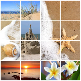 stock photo of summer beach  - Collage of summer beach images - JPG