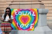 Brisbane, Qld Australia - August 11 : Equal Love Sign At Protest On Queen Victoria Statue With Unide
