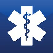 stock photo of cpr  - Emergency star white isolated on blue background - JPG