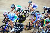 MOSCOW - AUGUST 19: Female cyclists ride fast at UCI juniors track world championships on August 19,