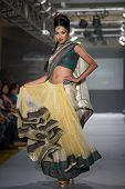 CHENNAI - JULY 21: A model walks on the ramp showcasing Anuradhaa Bisani work during the Chennai Int