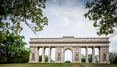 Colonnade Reistna, a neoclassical landmark and a viewpoint above the city of Valtice (South Moravia, Czech Republic)