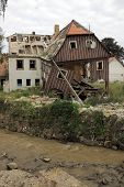 BOGATYNIA, POLAND - SEPTEMBER 1: Old house damaged by flood inundation in Bogatynia, Poland on Septe