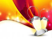 Lantern or lamp with lights on colorful wave  background for Ramadan Kareem and other events. EPS 10