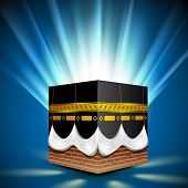 Beautiful View of Qaba or Kaaba Sharif on shiny rays background. EPS 10.