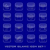 Vector Islamic icon set. EPS 10.