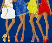 Long legs of four chic girls dressed in evening gowns and shoes on stiletto heels over a blue floral