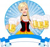 Label with funny German girl serving beer Label with funny German girl serving beer