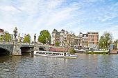 Sightseeing in Amsterdam the Netherlands on the river Amstel