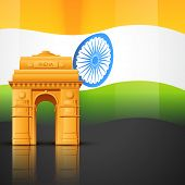 creative indian flag vector with india gate