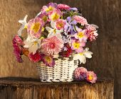 bouquet of spring flowers in a basket