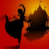 stock photo of bharatanatyam  - illustration of Indian classical dancer performing in temple - JPG