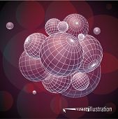 Abstract composition of sphere elements for graphic design