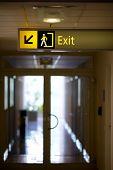 Exit sign in a corridor