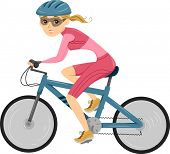 Illustration of a Girl riding a Bicycle for Triathlon