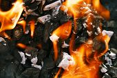 stock photo of charcoal  - Barbecue Grill flame fire charcoal BBQ - JPG