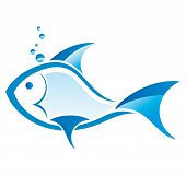 image of game-fish  - stylized blue fish vector design on a white background - JPG