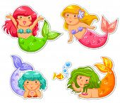 stock photo of mermaid  - set of cartoon little mermaid in different positions - JPG