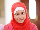 stock photo of hijab  - Muslim and Arabic girls learning together in group - JPG
