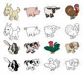 Cartoon boerderij dieren illustraties