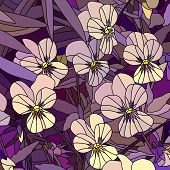 Vector Illustration Of Flowers Pale Yellow Violet (pansy).