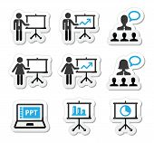 Business presentation, lecture, speech vector icons
