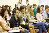 MOSCOW - AUGUST 18: Boys and girls at Global Youth Voice - AIESEC International Congress 2012 in MGI