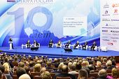 MOSCOW - NOVEMBER 14: Forum participants on stage at Forum Small Business - New Economy, dedicated t