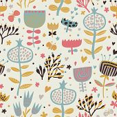 Bright summer wallpaper with flowers and butterflies. Seamless pattern can be used for wallpapers, p