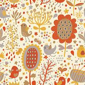 Bright seamless pattern with cute birds and flowers. Seamless pattern can be used for wallpapers, pa