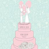 Stylish wedding invitation in pastel colors. Cartoon rabbits on tasty cake in vector. Romantic flora