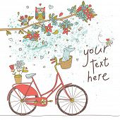 Vintage card in vector. Retro bicycle with cute dog under the branch with flowers and owl in bright