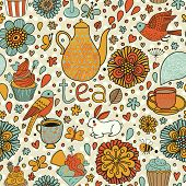 Tasty bright background. Tea concept card with cups, cupcakes, rabbit, birds, butterflies and flower