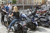 WROCLAW, POLAND - MAY 18: View of Harley Davidson motorcycle parked in the city during