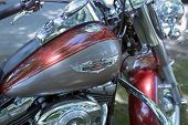 WROCLAW, POLAND - MAY 19: Detail of Harley Davidson motorcycle parked in the city during