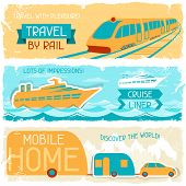 stock photo of motor coach  - Set of horizontal travel banners in retro style - JPG