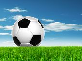 Concept or conceptual 3D soccer ball in fresh green summer or spring field grass with a blue sky bac