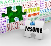 A puzzle piece with the word Resume filling an opening in a wall to illustrate interviewing and gett