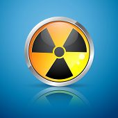 picture of radioactive  - vector nuclear radiation hazard sign - JPG