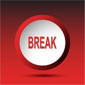 Break. Plastic button. Raster illustration.