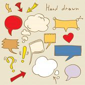 Set of Hand Drawn Speech and Thought Bubbles