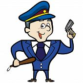 stock photo of cap gun  - Cartoon police officer man with gun - JPG