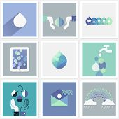 Drops Of Water. Set Of Design Elements