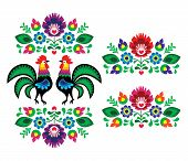 Polish ethnic floral embroidery with roosters - traditional folk pattern
