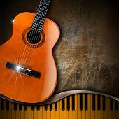 Akustische Gitarre und Klavier Grunge Hintergrund