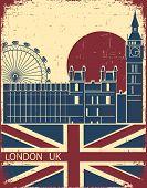 London Landmark.vintage Background With England Flag On Old Poster poster