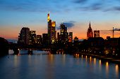 image of frankfurt am main  - Frankfurt am Main cityscape at sunset Germany - JPG