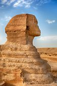 A profile view of the Sphinx, Giza, Egypt